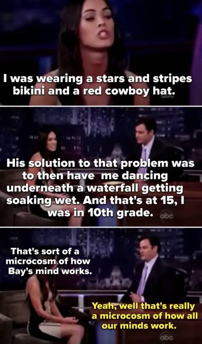 Megan Fox berbicara tentang Michael Bay yang menggairahkannya saat remaja dan Jimmy Kimmel bercanda tentang itu