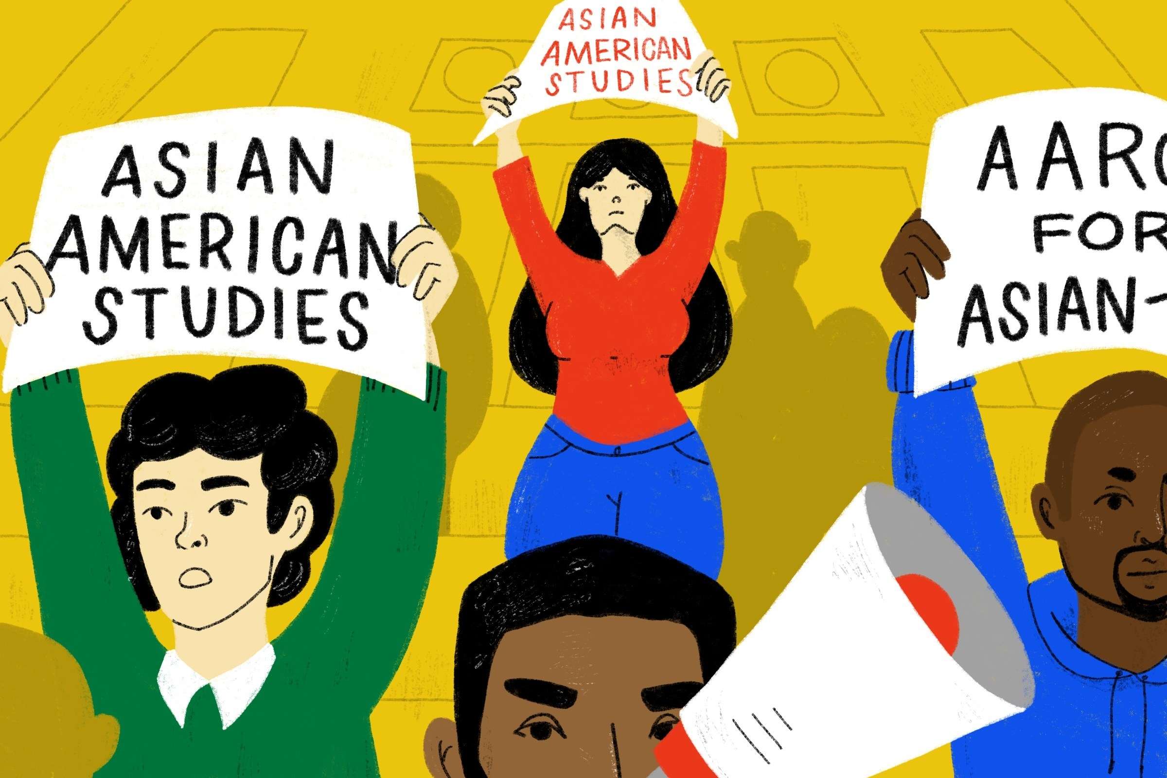 illustration of students protesting