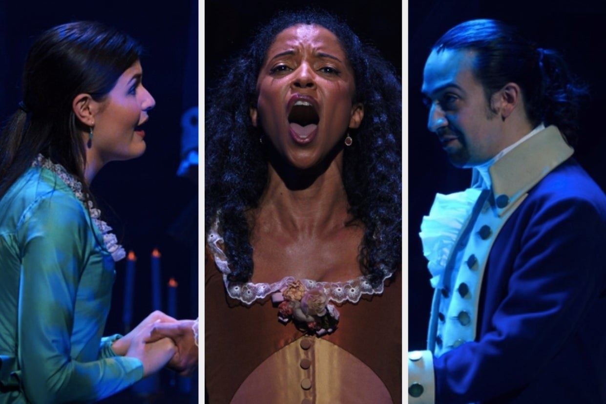 Eliza, Angelica, and Alexander in different parts of Hamilton