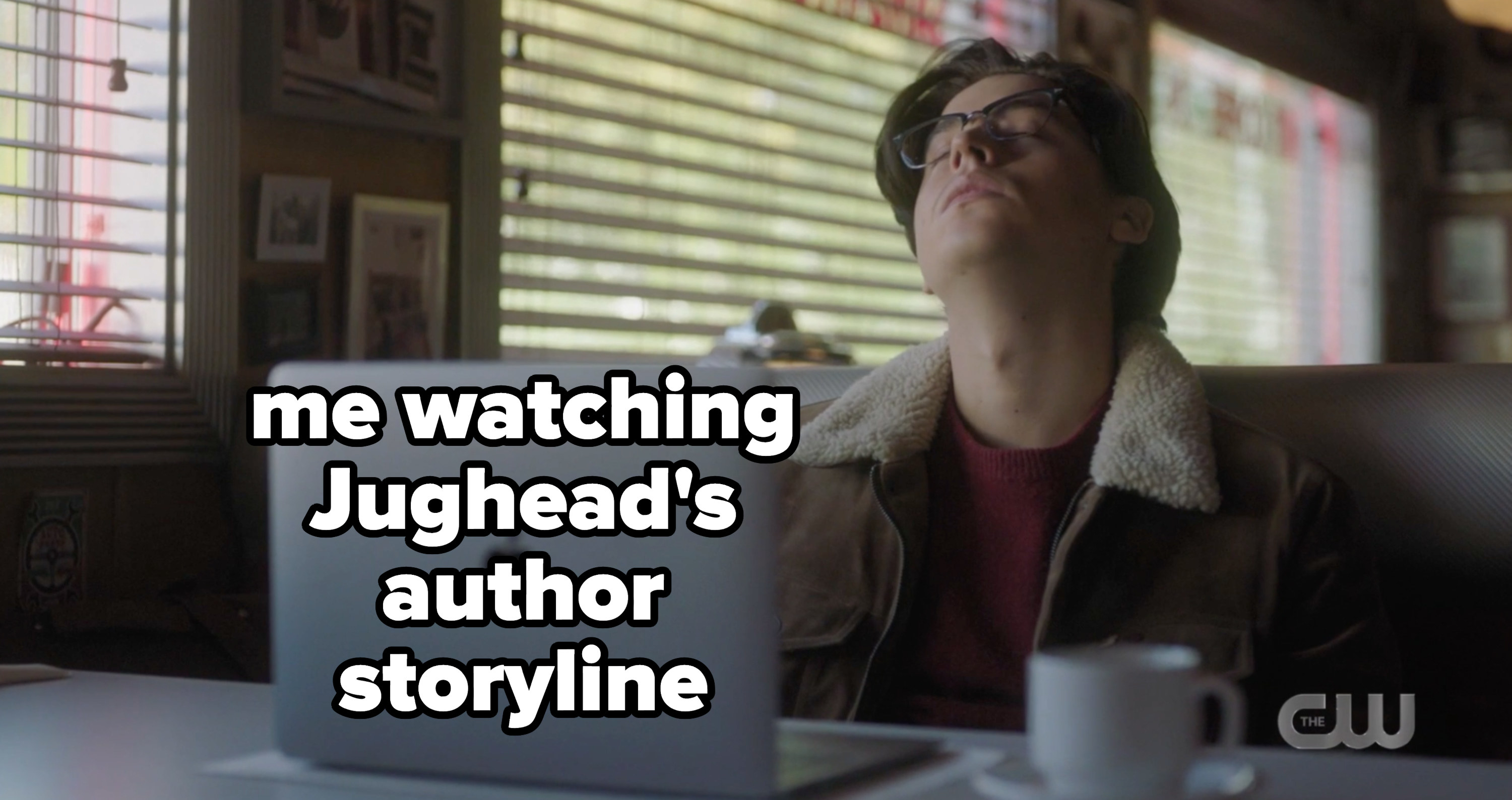 Jughead trying to write with the caption me watching Jughead's author storyline