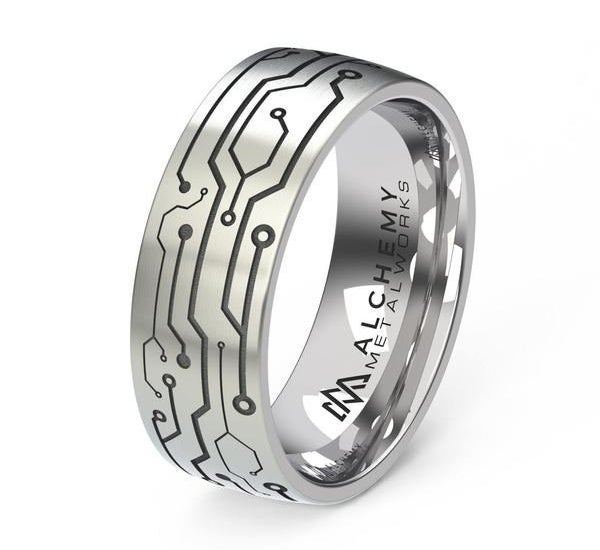 A silver band etched to look like a circuit board