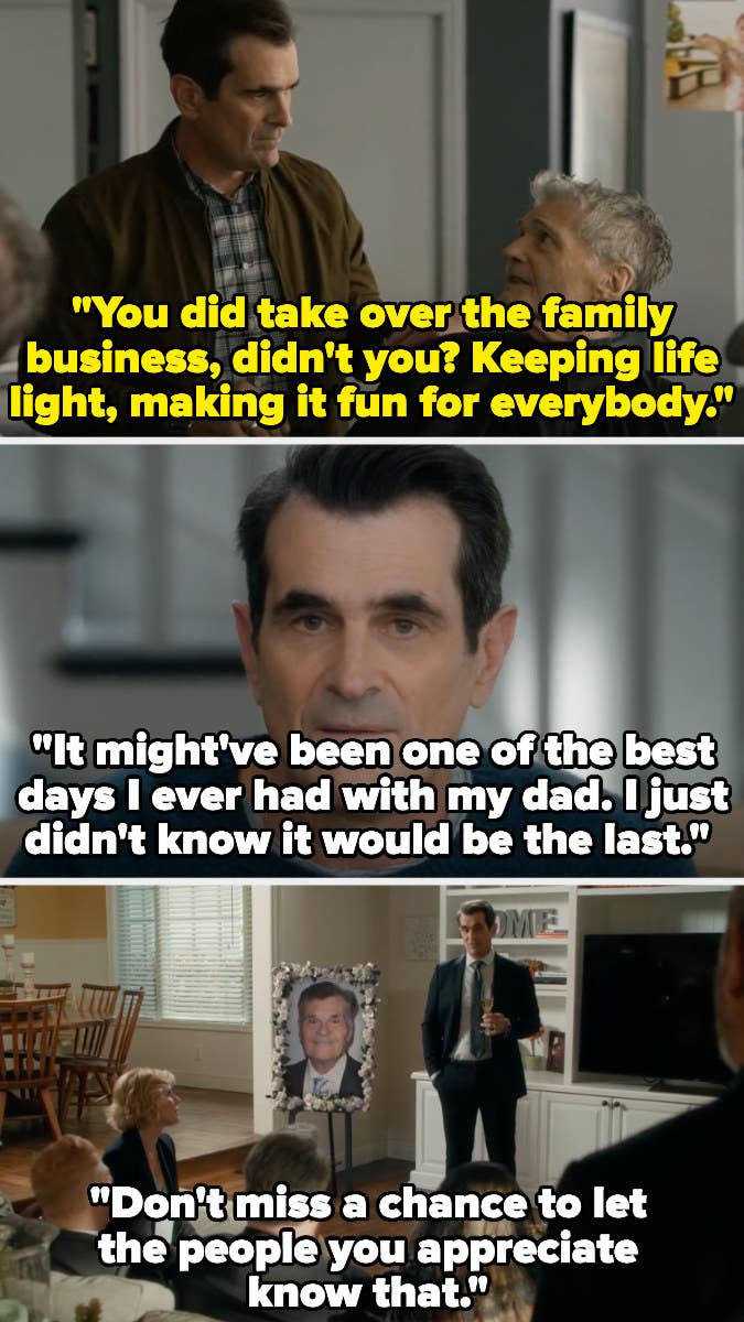 Phil's dad tells him he took over the family business by keeping life fun. In a confessional, Phil says it was the best day with his dad, but he didn't know it was the last. At his funeral, Phil says to tell people you appreciate them