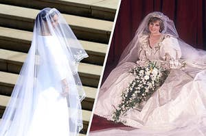 Meghan and Diana's wedding gowns