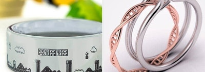 Two panels showing a silver band etched with an 8-bit scene from Super Mario Bros and a silver ring with a rose gold band shaped to look like DNA
