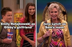 "Emily Ratajkowski as Gibby's girlfriend and Jane Lynch as Sam's mom on ""iCarly"""