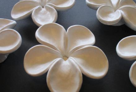 Close up of ceramic frangipani pieces