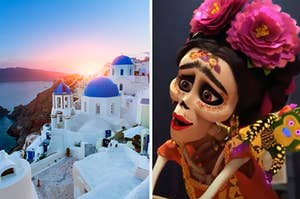 Side-by-side images of Mykonos, Greece and Frida Khalo from Coco