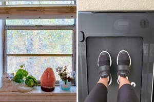 On left, iridescent privacy film on bathroom window. On right, feet on foldable treadmill