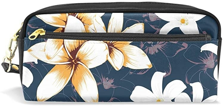 Large pencil case with frangipanis that look drawn on