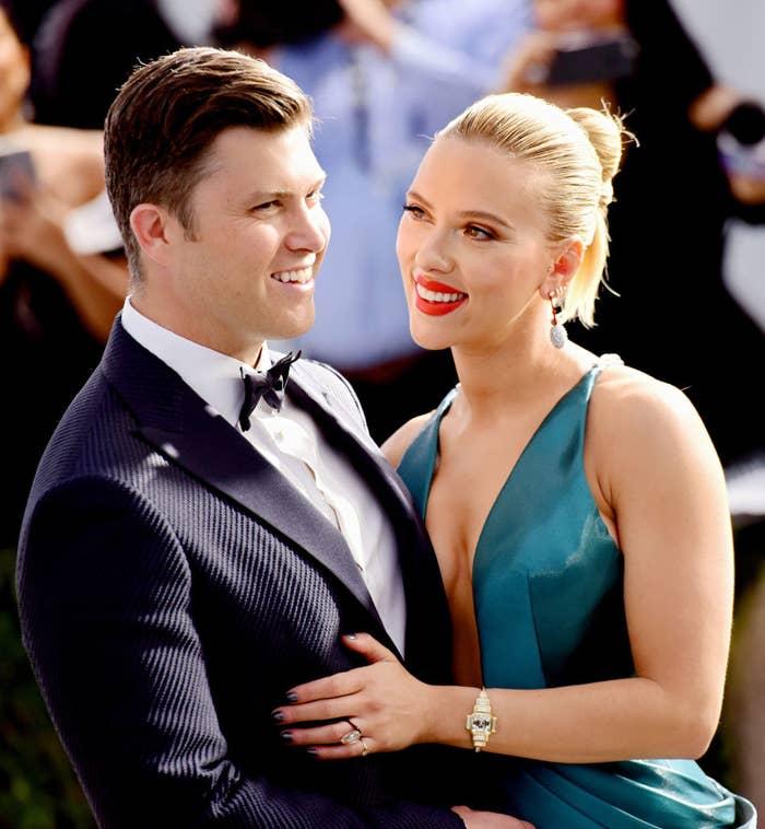 Colin Jost (L) and Scarlett Johansson at the 26th annual Screen Actors Guild Awards