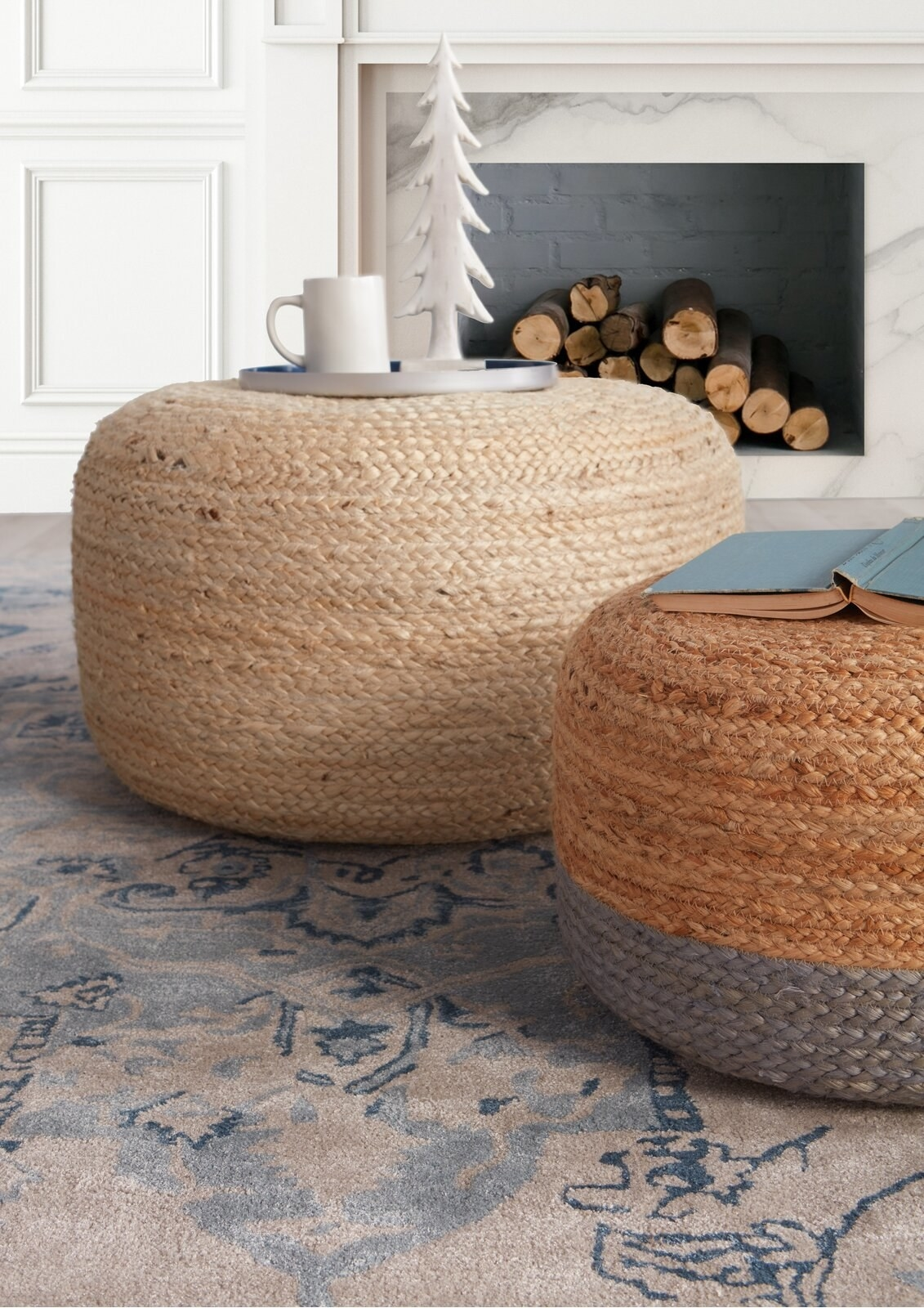 The poufs, which are round with flat tops, and made of woven jute