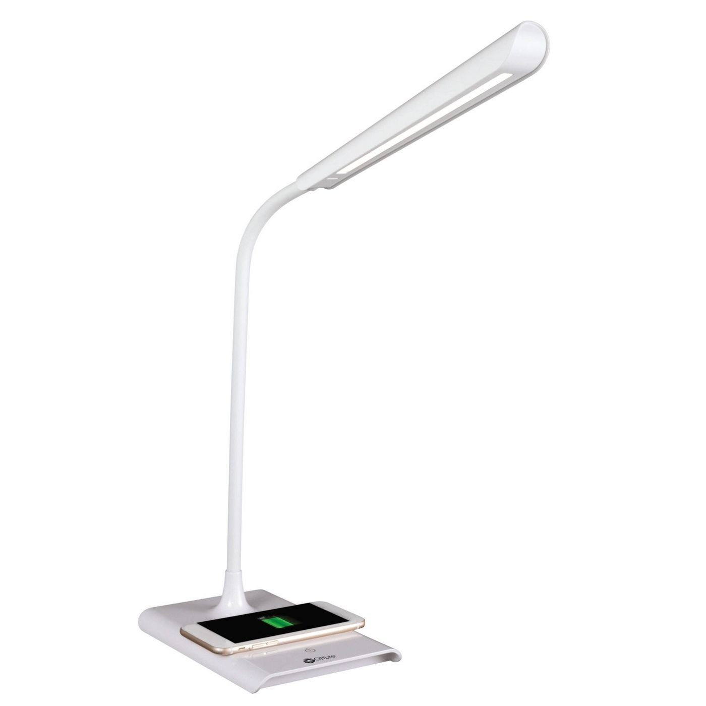 The lamp with an iPhone charging on it
