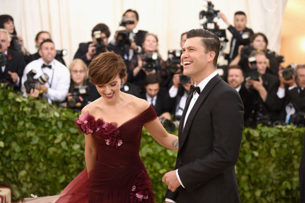 Scarlett Johansson and Colin Jost at the Heavenly Bodies: Fashion & The Catholic Imagination Costume Institute Gala at The Metropolitan Museum of Art in May 2018