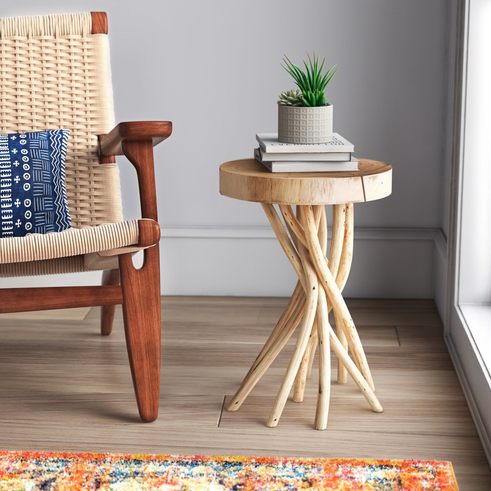The wooden side table with tree-like woven legs