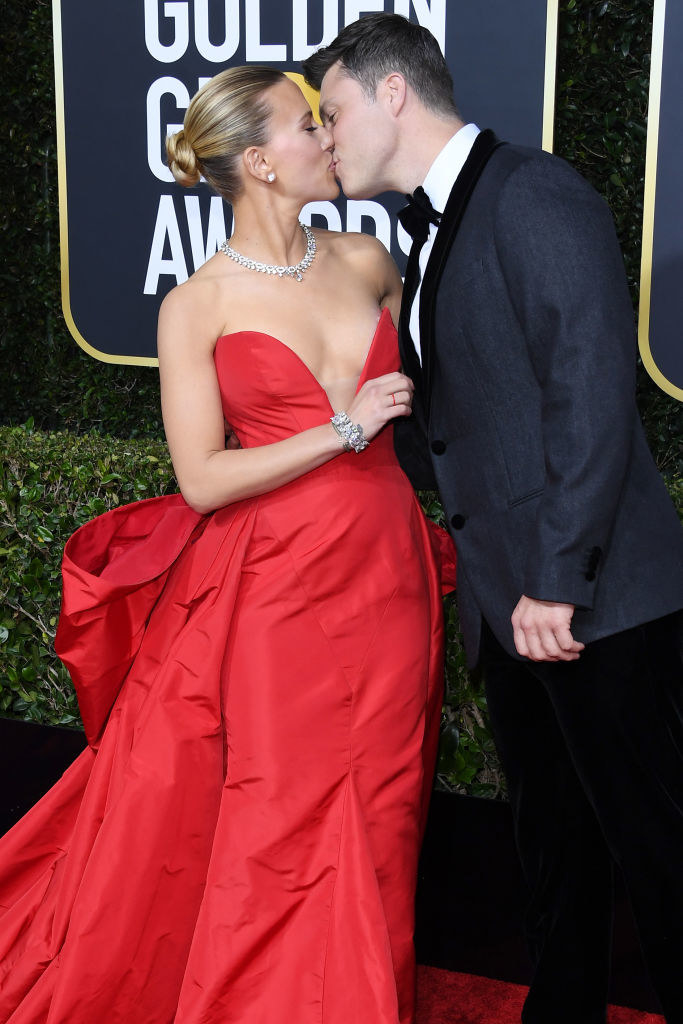 Scarlett Johansson (L) and Colin Jost at the 77th Annual Golden Globe Awards
