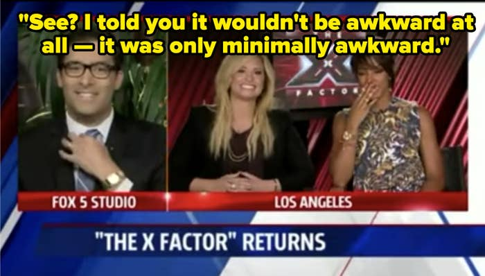 Demi Lovato and Kelly Rowland being interviewed by a Fox 5 anchor