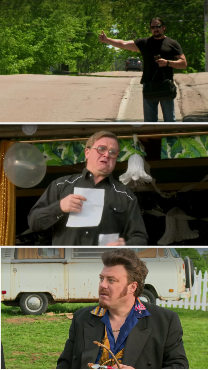Julian hitchhikes and Bubbles finds the letter, holding it up and crying