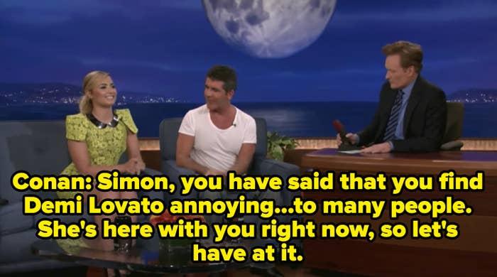 Conan O'Brian interviewing Simon Cowell and Demi Lovato
