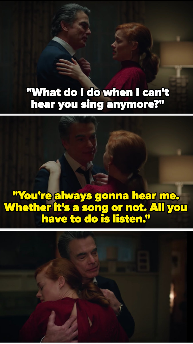 Zoey asks what to do when she can't hear her dad sing anymore, and he says she'll always hear him if she listens