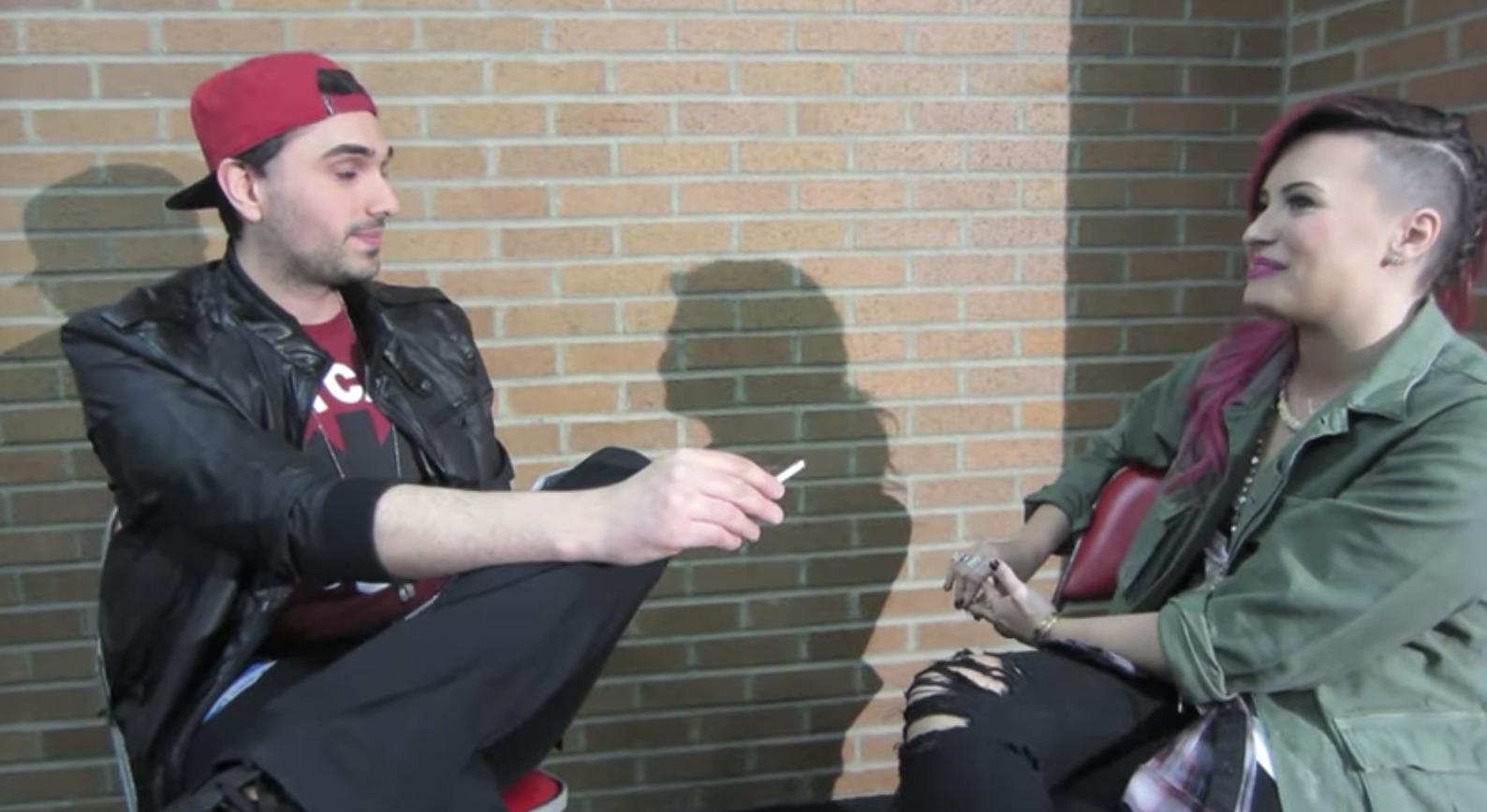 Slim interviewing Demi Lovato