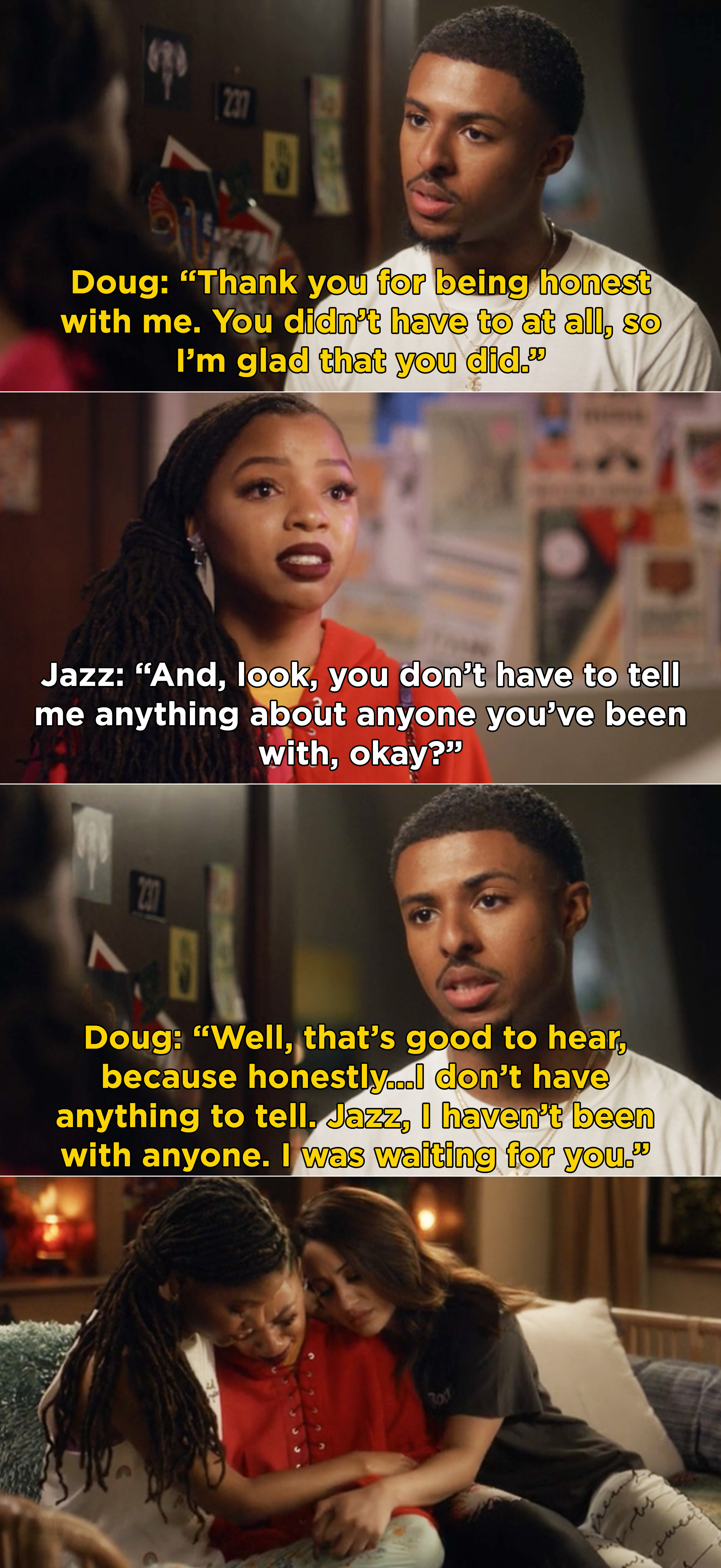 """Doug saying he appreciates Jazz's honesty, but he had nothing to tell because, """"I was waiting for you"""""""