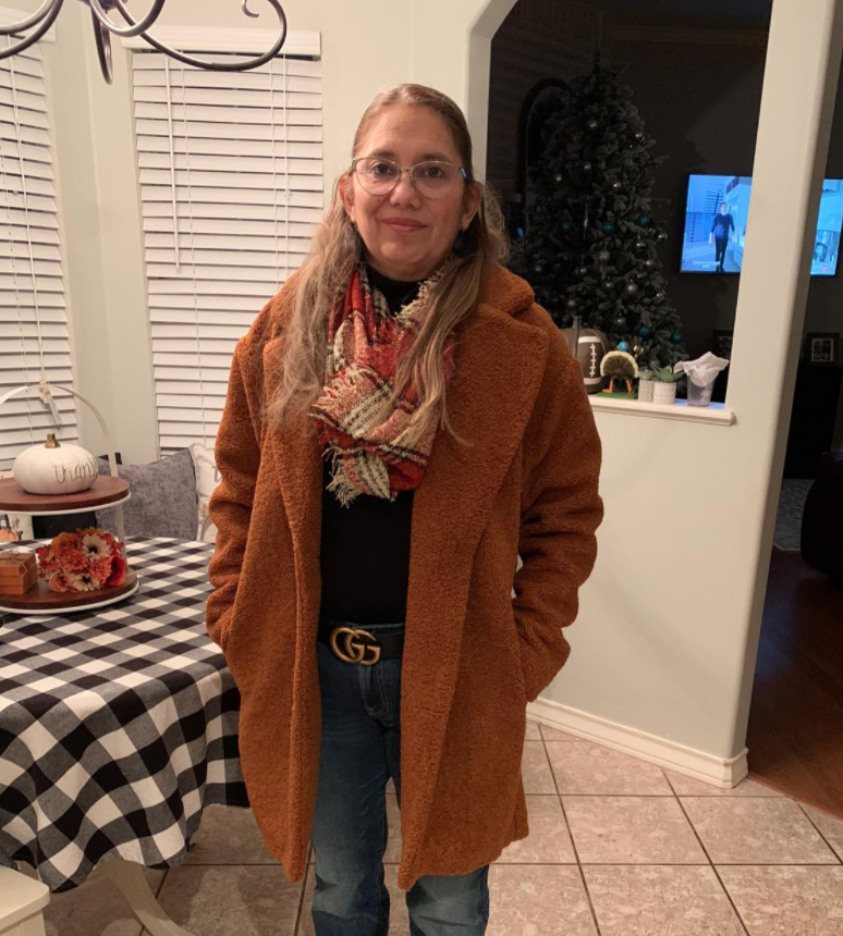 A reviewer wearing the coat