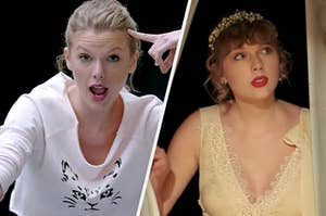 "Taylor Swift in the ""Shake It Off"" and ""Willow"" music videos"