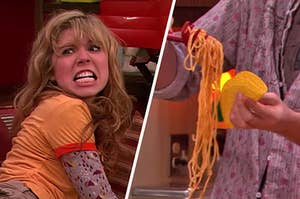 "On the left, Sam from ""iCarly,"" and on the right, someone putting spaghetti into a crunchy taco shell"