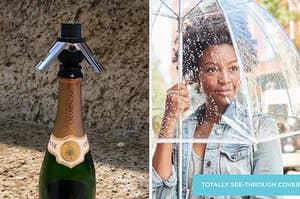 A wine stopper / A person using a bubble umbrella