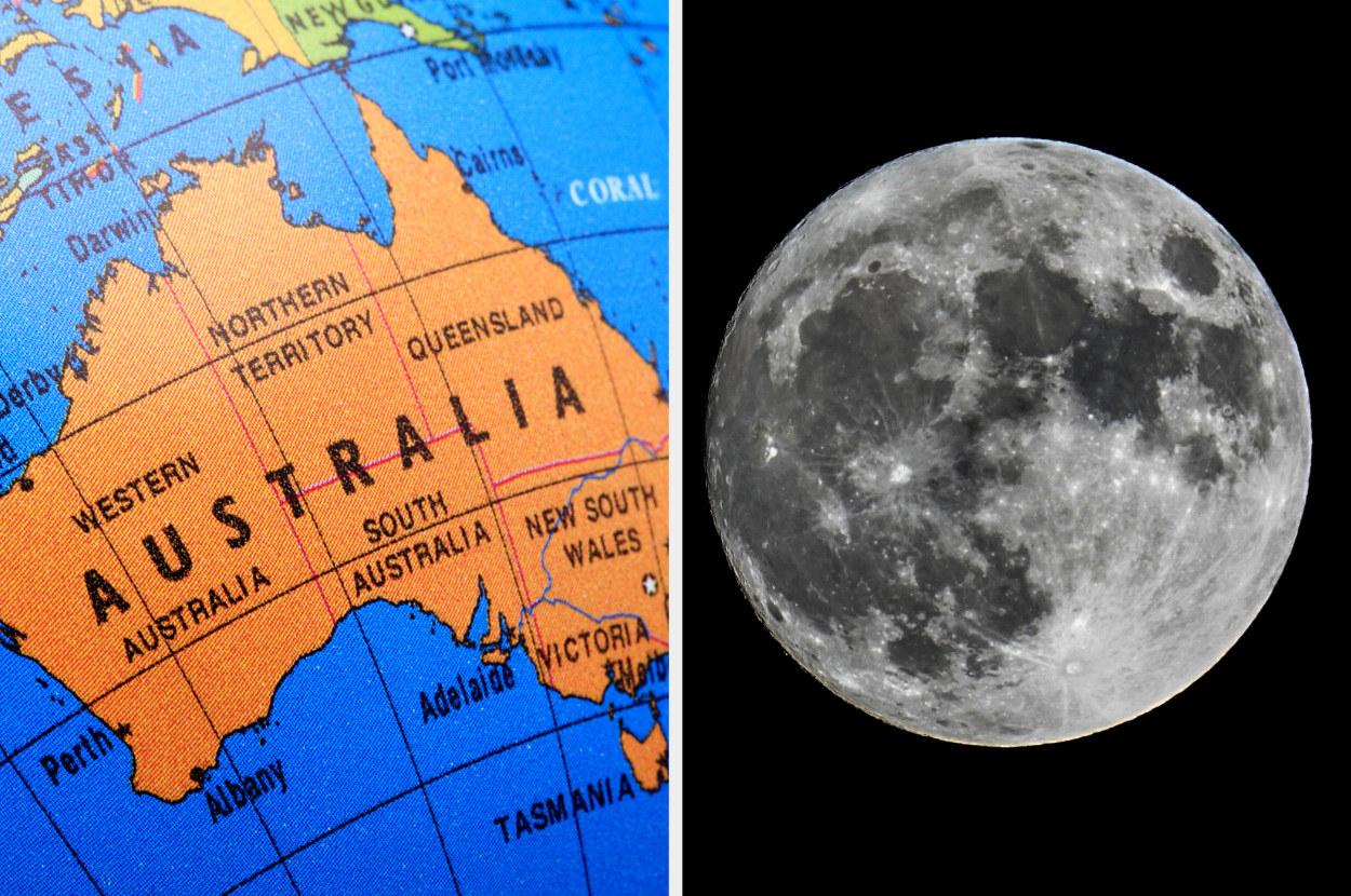 australia next to the moon