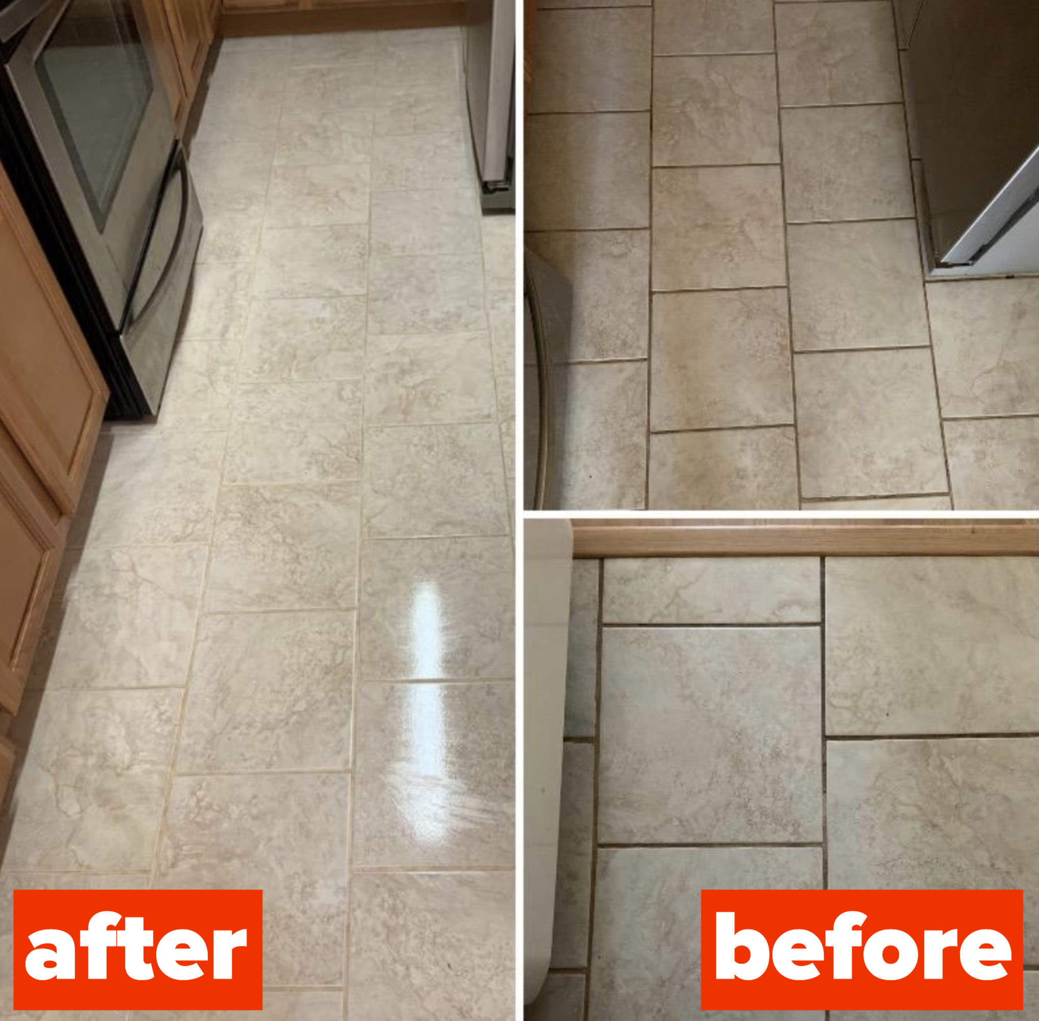 on the right, a reviewer's tile floors looking dirty from grout, and on the left, the same tile floors now looking practically brand new