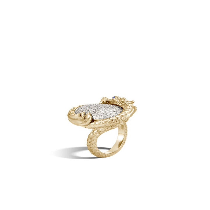 A gold ring resembling a dragon wrapped around a set of pave diamonds