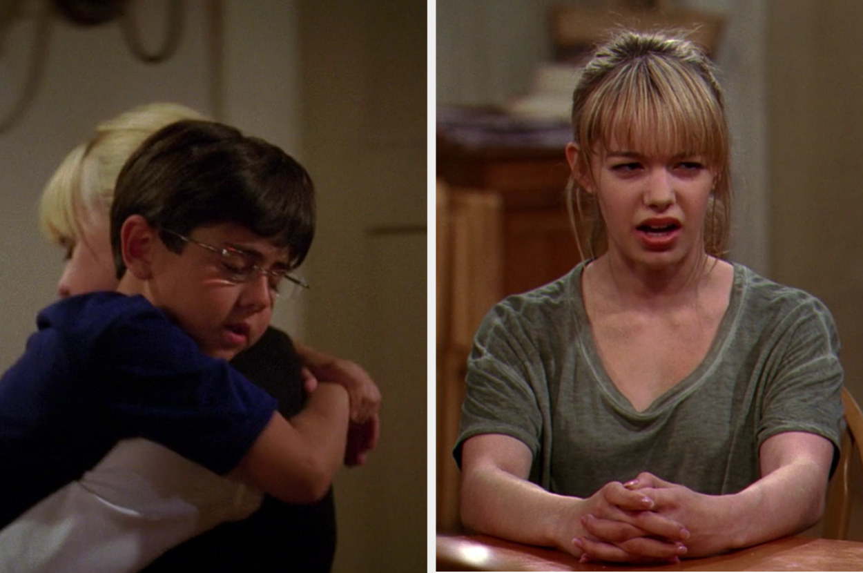 A side-by-side of Christy holding Oliver and Violet sitting at a table