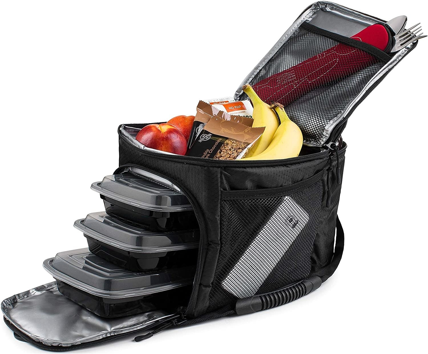 Black insulated bag with tupperware and snacks and a phone inside the pockets