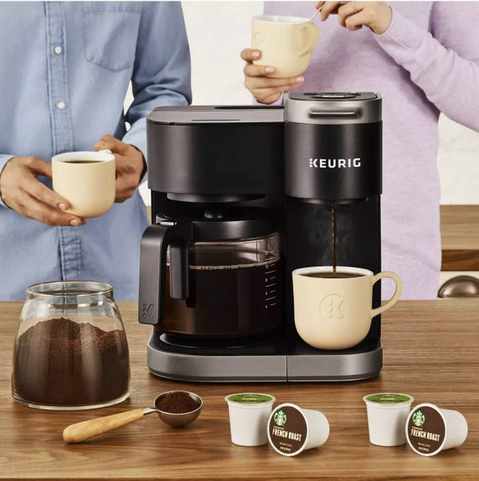 Two people using the Keurig K-Duo coffee maker