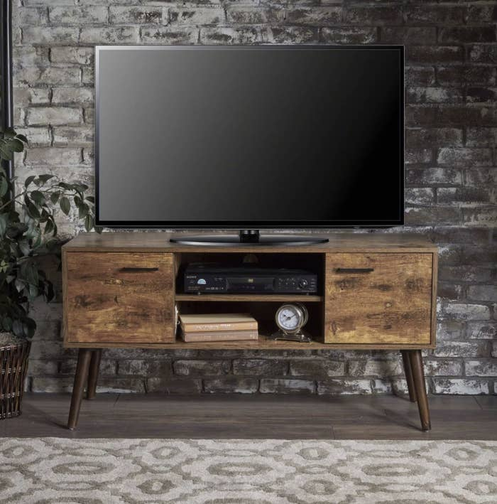 The wood entertainment center