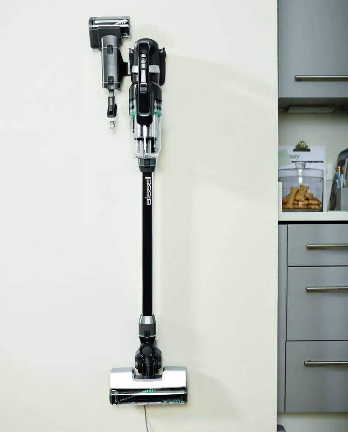 The vacuum mounted on a wall