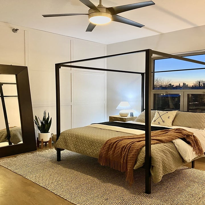 reviewer's black four-poster frame