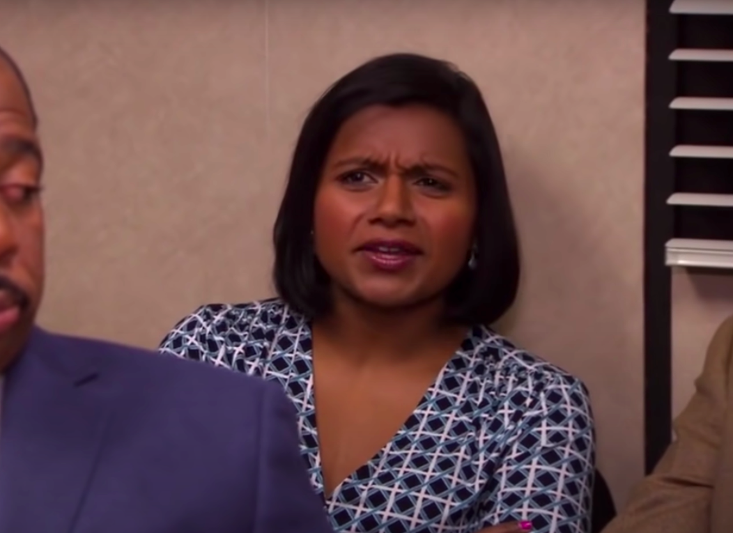 """Kelly from """"The Office"""" looking angry"""