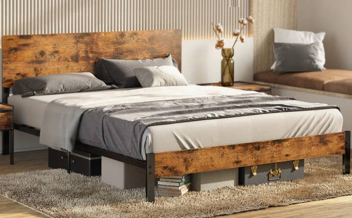 the wood and steel bed frame