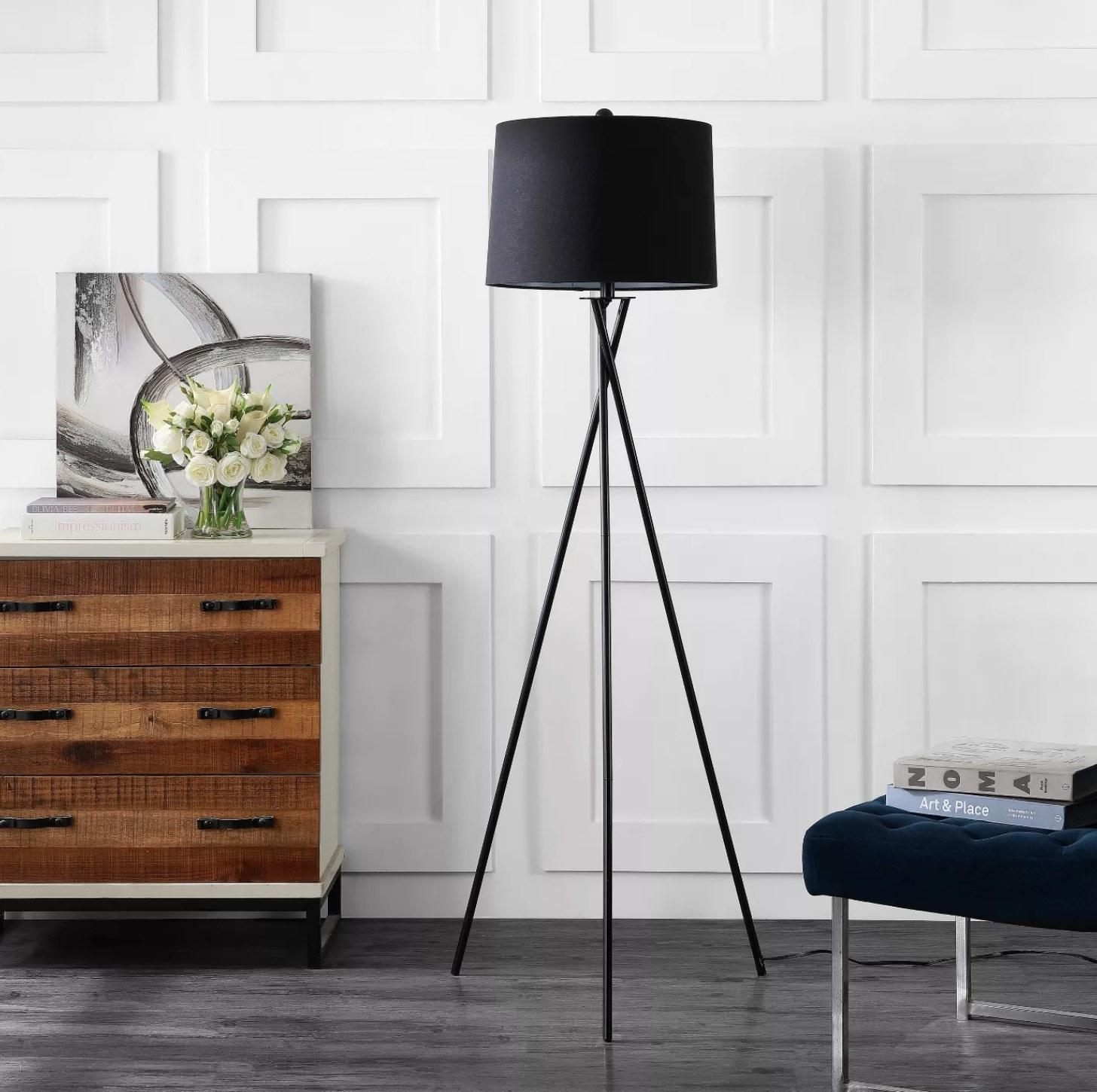 A black floor lamp