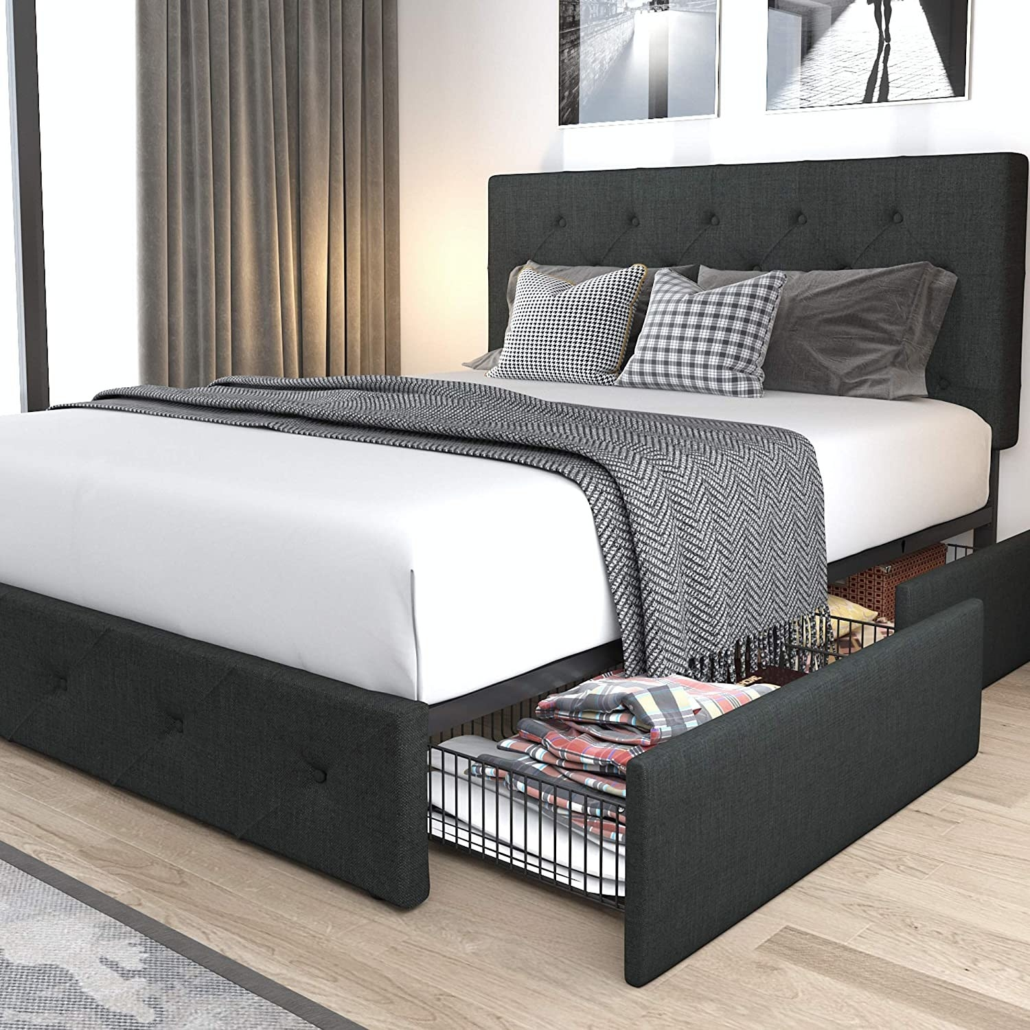 the dark grey bed frame with two drawers pulled out