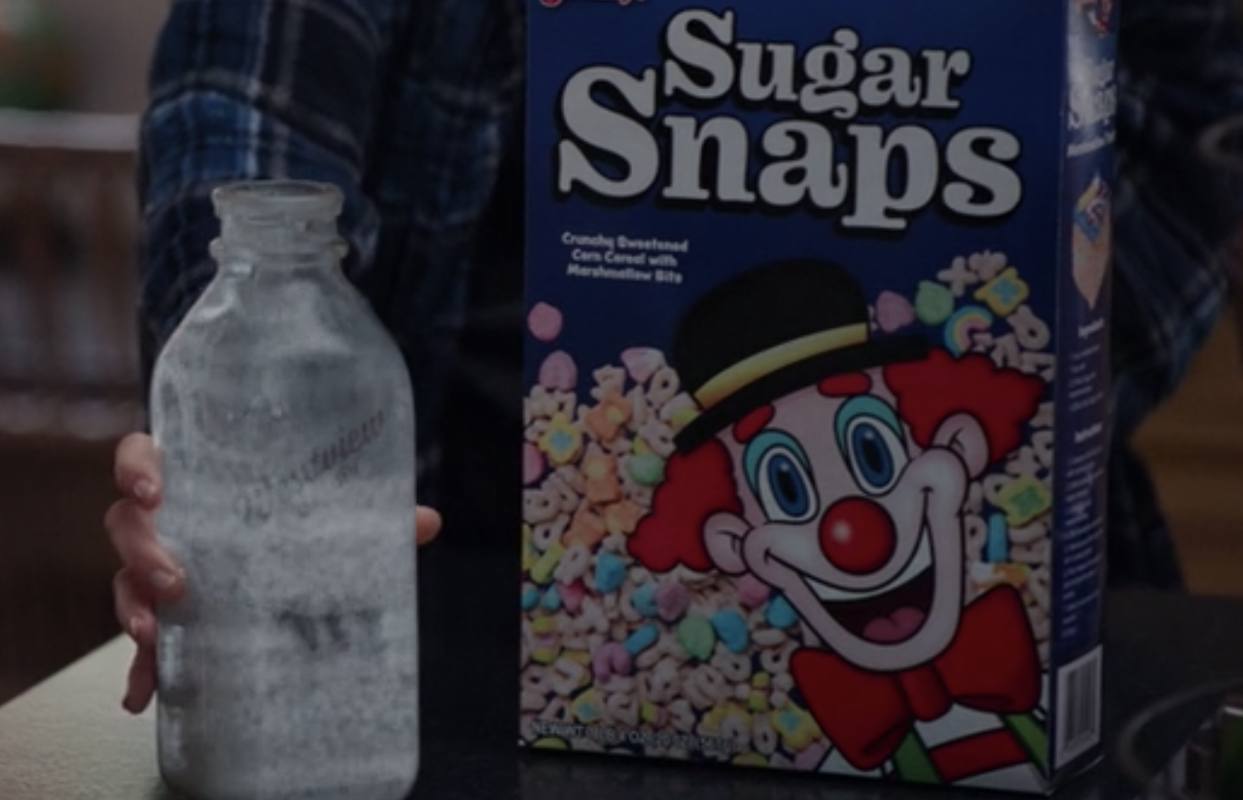 A close-up of the cereal box featuring a clown