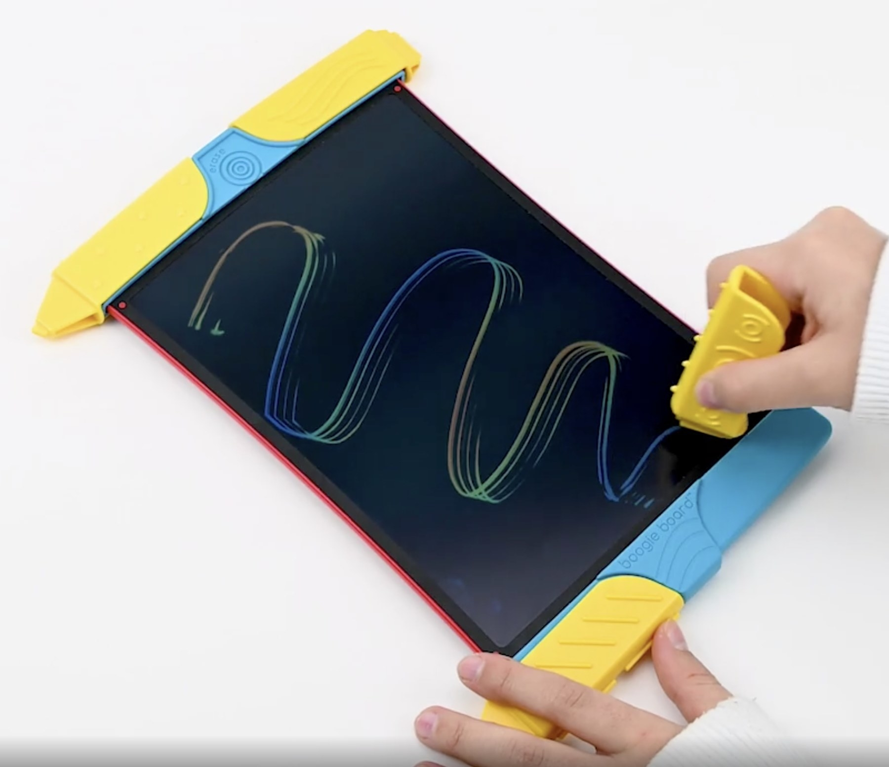 A person drawing on an eWriter