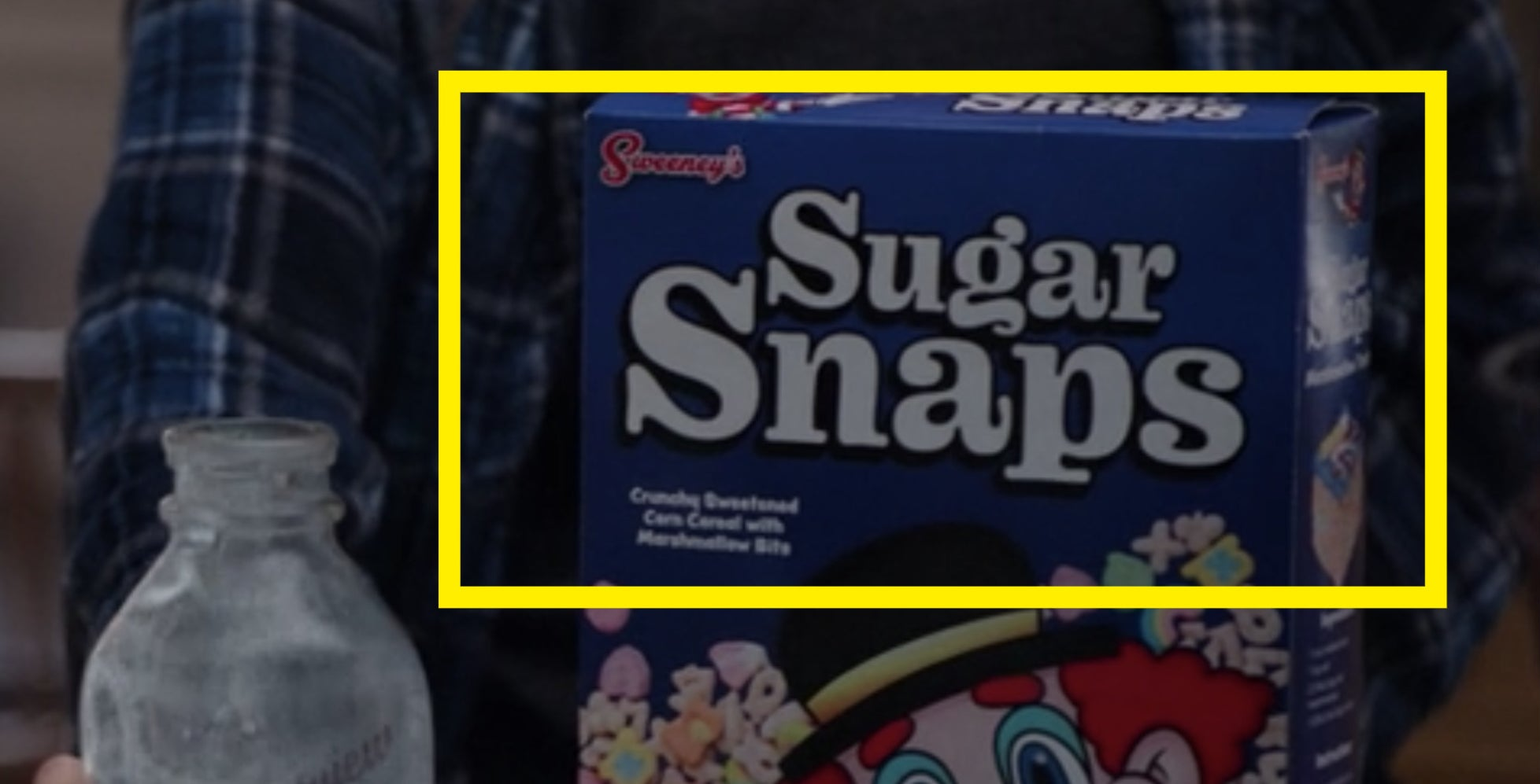 """A close-up of Wanda's cereal box, which reads """"Sugar Snaps"""""""