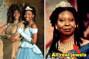 """Whitney Houston and Brandy side by side with Whoopi Goldberg with the caption """"all real jewels"""" and an arrow pointing them out"""