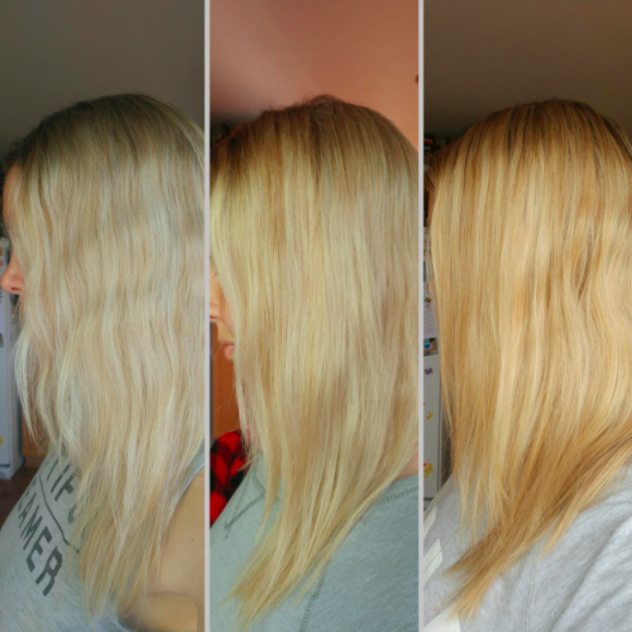 before and after showing blonde hair losing its yellow tint