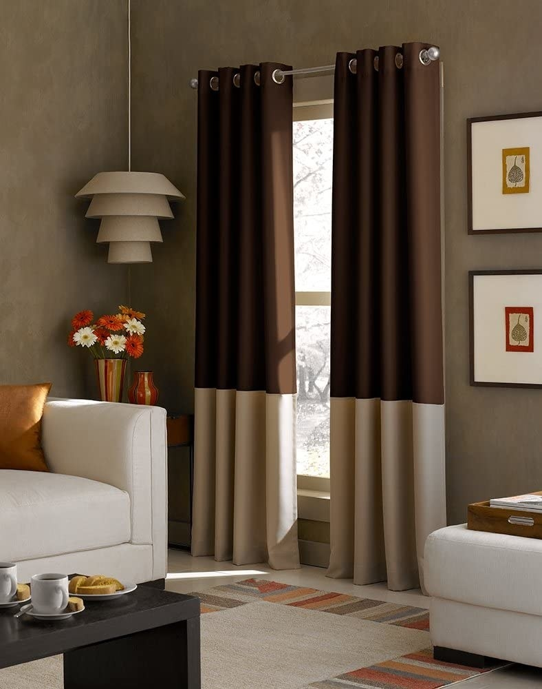 Grommet curtains that hit the floor with two tone colors