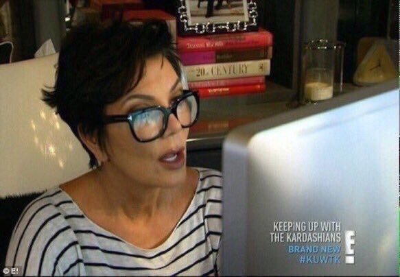 Kris Jenner looking shocked at her computer screen