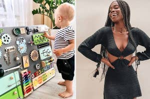 toddler playing with an activity board and a model in a crochet dress